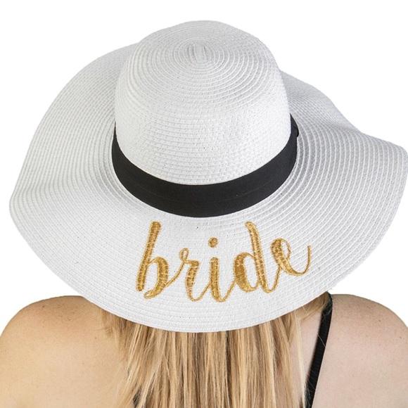 80fad3b841cab Bride beach bag floppy hat white gold writing